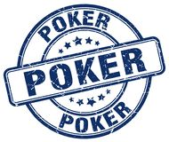 Poker stamp. Poker round grunge stamp isolated on white background royalty free illustration