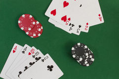 Poker, straight and gambling chips Stock Photo