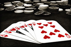 Poker suit Royal Flush of hearts Royalty Free Stock Images