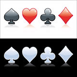 Poker symbol. Black, red and crystal isolated on black or white background Stock Image