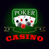 Poker symbol with playing cards and gambling chips Royalty Free Stock Photo