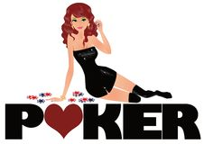 Poker symbol and sexy girl,  Stock Photography