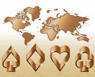 Poker symbols and map, vecto Royalty Free Stock Photography