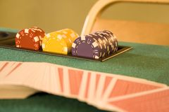 Poker TAble. With chips and cards Stock Photos