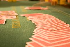 Poker table 3. Texas Hold'em poker table with cards fanned out royalty free stock images