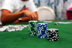 Poker table. With chips lying on it Stock Images