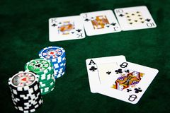 Poker table. With chips and cards on it Royalty Free Stock Photos
