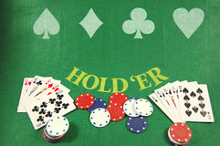Poker table. Texas hold em table with cards and chips Royalty Free Stock Image