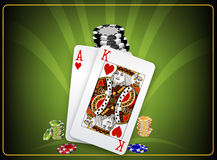 At the poker table cards and chips Royalty Free Stock Photo