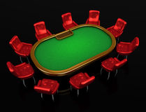 Poker table with chairs Stock Photography
