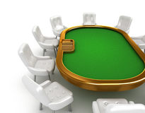 Poker table with chairs Royalty Free Stock Images