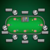 Poker table with chairs and cards chips player labels template Royalty Free Stock Images