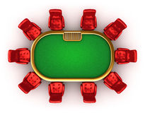 Poker table with chairs top view Royalty Free Stock Photography