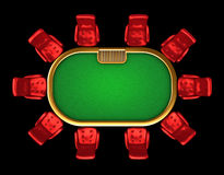 Poker table with chairs top view Royalty Free Stock Photos