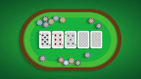 Poker table with a combination of eight low