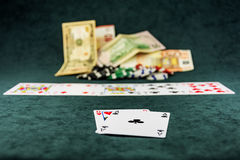 At the poker table is a combination of poker cards are dealt Royalty Free Stock Photos