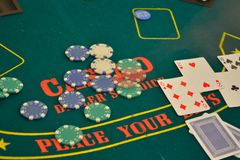 Poker table display Royalty Free Stock Photography