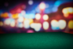 Poker table. Poker green table in casino with blur background stock photography