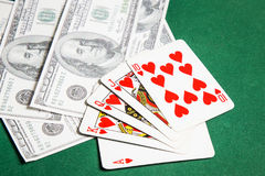 Poker table green  surface image closeup Stock Images