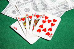 Poker table green  surface image closeup Stock Photo