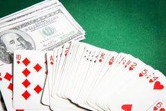 Poker table green  surface image closeup Stock Image