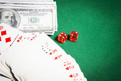 Poker table green  surface image closeup Stock Photography