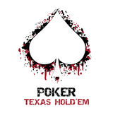 Poker texas holdem  illustration with grunge effect Royalty Free Stock Images