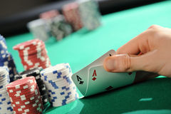 Poker texas holdem: Two Aces Stock Images