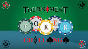 Poker tournament cover. Challenge game poster, illustration of casino chips. Gambling symbols. Vector with green background. Vector illustration representing a stock illustration