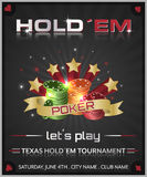 Poker tournament dark background with poker chips and stars. Stock Images