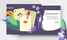 Poker tournament web page template play cards. Play cards poker tournament landing web page template vector online stakes and money win blackjack and Texas stock illustration