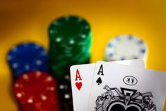 Poker: Two aces Stock Photography