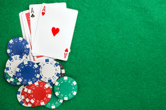 Poker two aces, place for text Royalty Free Stock Photography