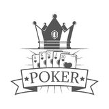 Poker of vector vintage emblem, label, badge and logo with crown and set cards in monochrome style Royalty Free Stock Images