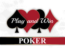 Poker wallpaper with playing card symbols. And halftone effect,  illustration Stock Photo