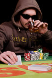 Poker and whiskey. Stock Image