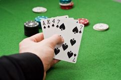 Poker win combination Stock Image
