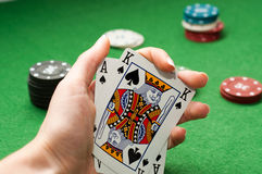 Poker win combination Royalty Free Stock Image