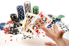 Poker wining hand with pocket Queens Stock Images