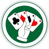 Poker winner. Four cards of poker in circular logo Stock Image