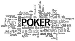 Poker Word Cloud. A poker themed word cloud on a white background Stock Photo