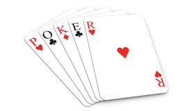 Poker word with playing cards Stock Photo