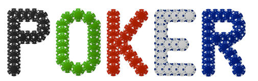 Poker written with poker chips. The text Poker written with poker chips Royalty Free Stock Photo