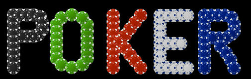 Poker written with poker chips Stock Images