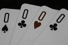 Poker of zeros casino playing cards Stock Images