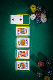 Pokerbegrepp med kort på den gröna tabellen Hand-rang kategorier: Fyra av en sort Fotografering för Bildbyråer