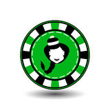 Pokerchip-Weihnachtsneues Jahr Illustration der Ikone ENV 10 auf einem weißen Hintergrund, zum sich leicht zu trennen Gebrauch fü Stockfotografie
