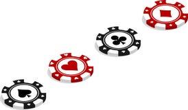 Pokerchiper förlade diagonalt royaltyfri illustrationer