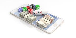 Pokerchiper, kort och pengar på en smartphone, vit bakgrund illustration 3d vektor illustrationer