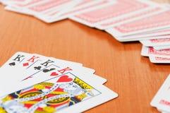 Pokerchiper och generiska spela kort Royaltyfria Bilder